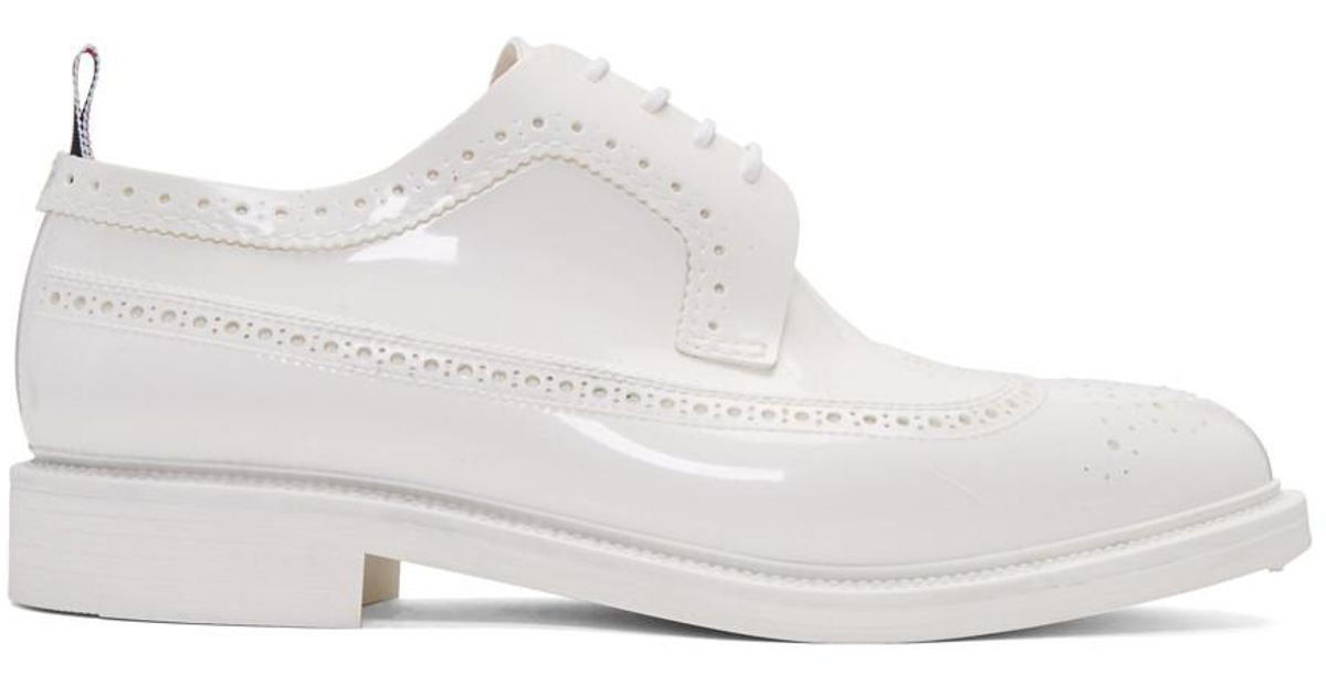 fe782c3b14 Thom Browne White Rubber Classic Longwing Brogues in White for Men - Lyst