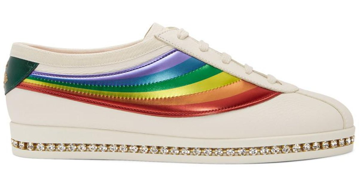 Gucci Leather White Crystal Falacer