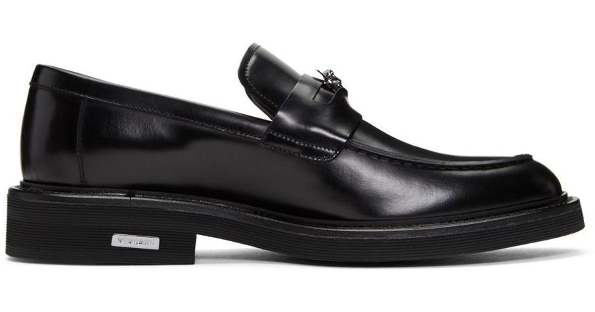 cb8cbba669f Lyst - Versace Black Medusa Penny Loafers in Black for Men
