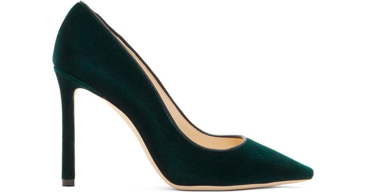 Jimmy Choo Green Velvet Romy Heels - Lyst