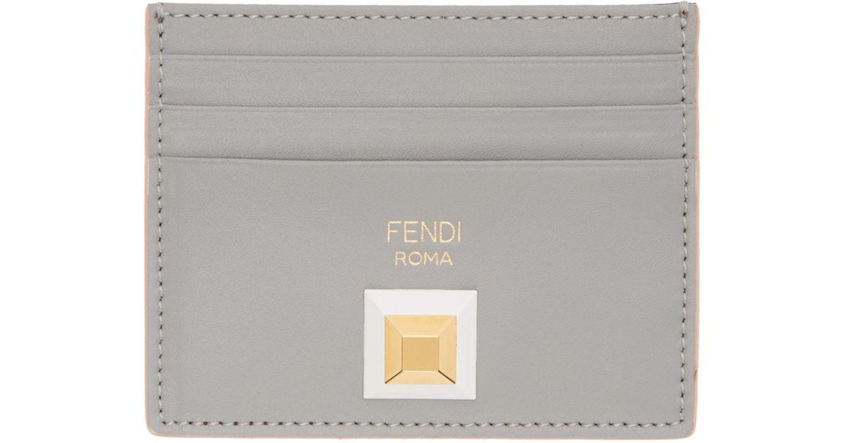 Grey and Burgundy Rainbow Card Holder Fendi JHiz2ADH2F