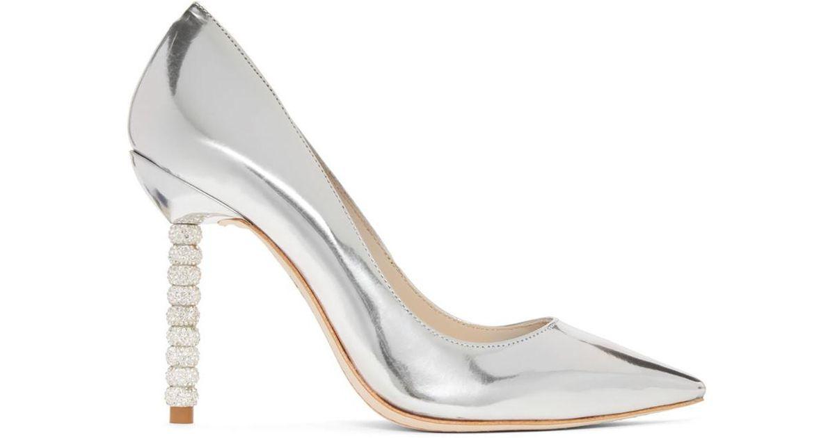 Silver Metallic Coco Crystal Heels