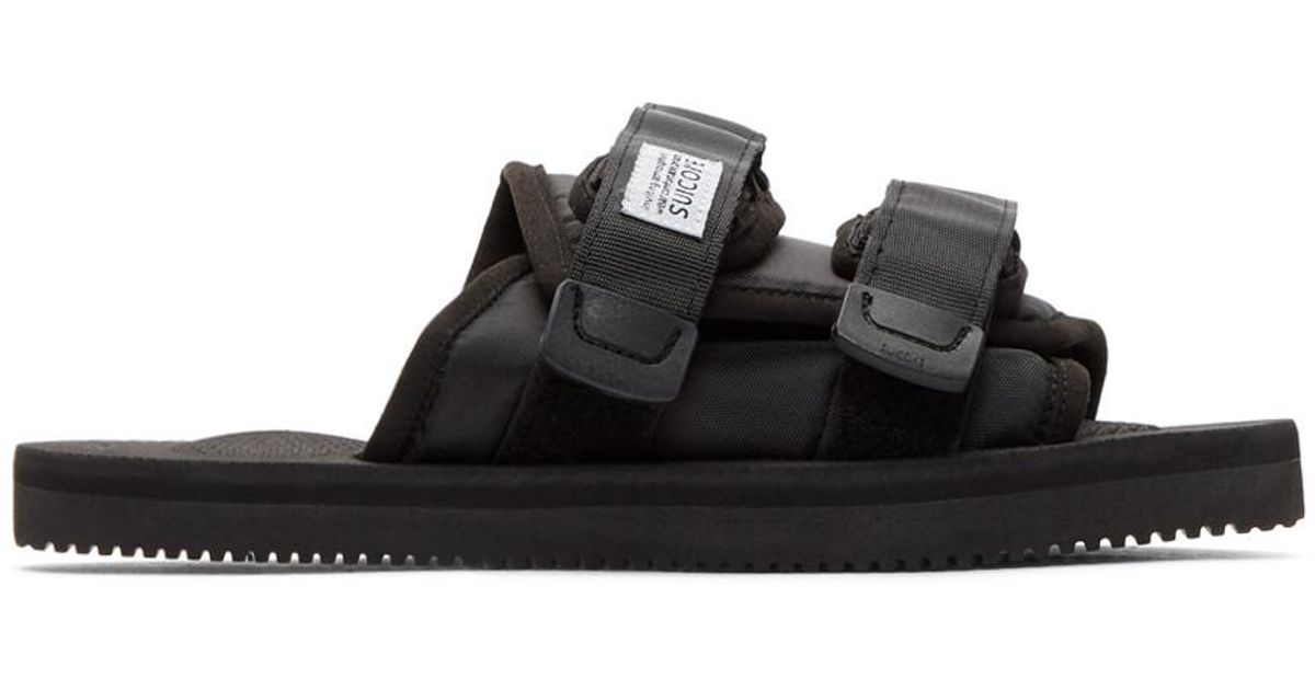 140560b195a Lyst - Suicoke Black Shearling-lined Moto Sandals in Black for Men