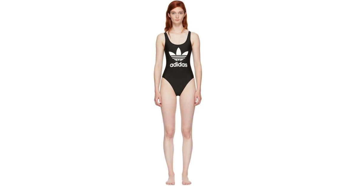 5b4d49960c052 adidas Originals Trefoil One Piece Swimsuit in Black - Save 53% - Lyst