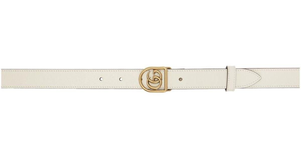 b02e159f2da Lyst - Gucci White Small GG Marmont Belt in White for Men