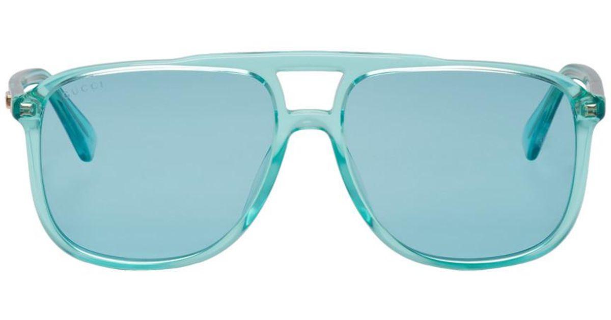 fc43d849 Gucci Blue Transparent 80s Monocolor Sunglasses for men