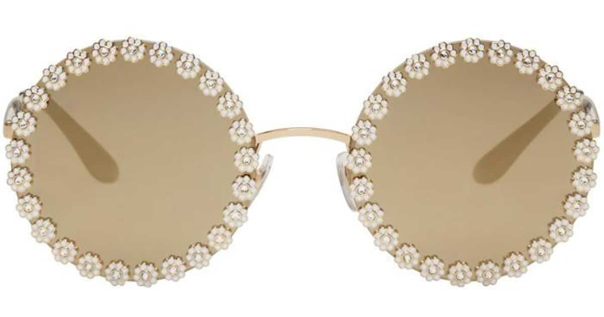 9497983a2ee5 Dolce & Gabbana Gold Studded Daisy Sunglasses in Metallic - Lyst