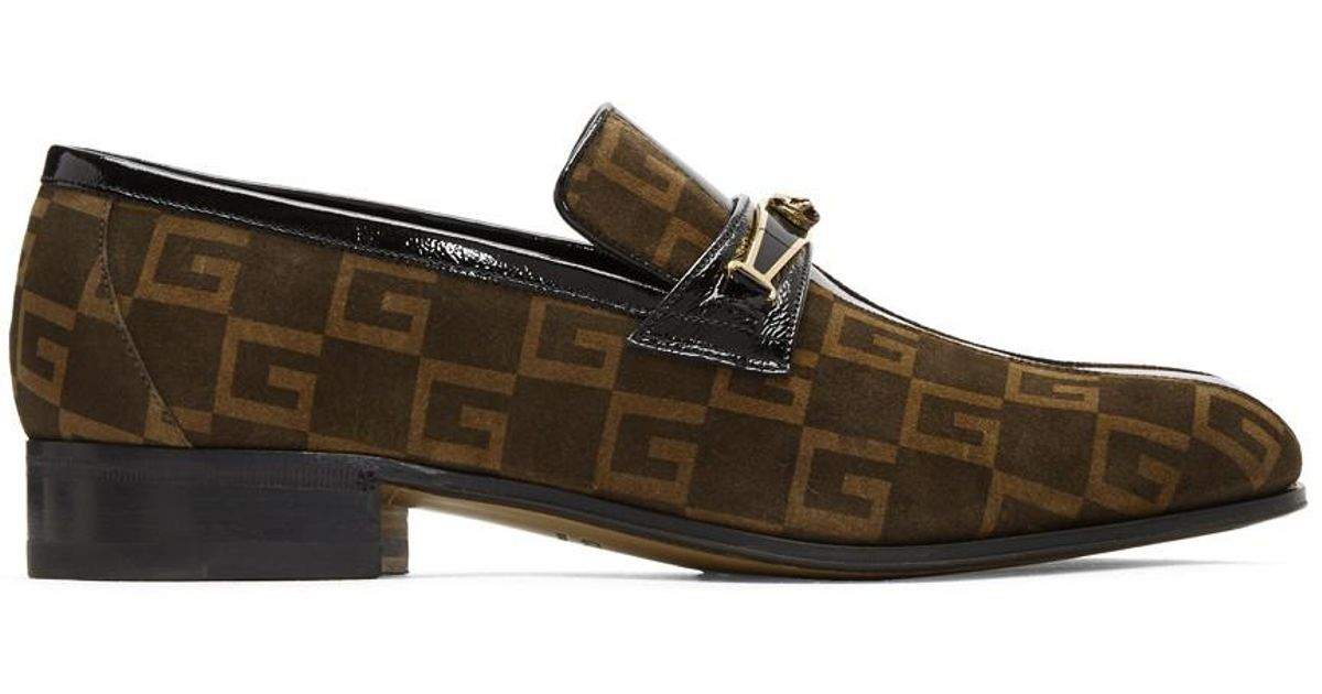 947b515d632 Lyst - Gucci Brown Suede GG Fox Loafers in Brown for Men