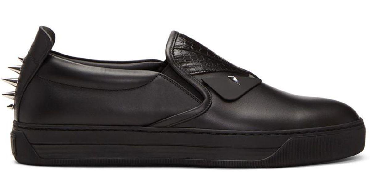 aacdb83b Fendi Black Snakeskin 'bag Bugs' Slip-on Sneakers for men