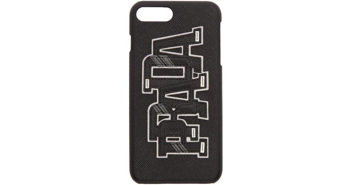 low priced 69110 e79f3 Prada Black Saffiano Logo Iphone 7 Plus Case for men