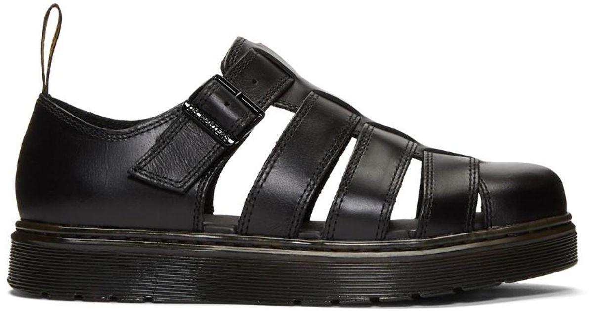 Dr. Martens Leather Black Vibal Sandals