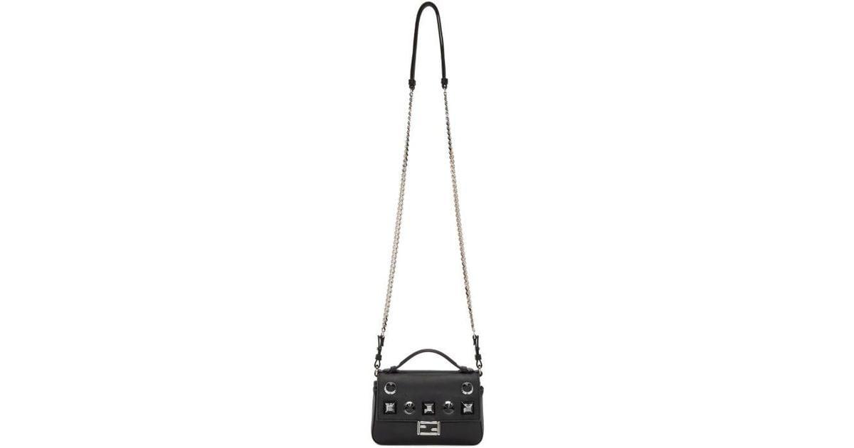 0da412e9ef Lyst - Fendi Double Micro Baguette Studded Bag in Black