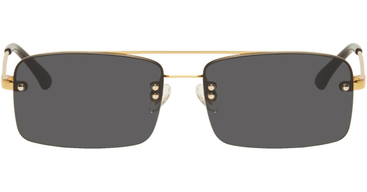 8dfff4bd65 Lyst - Dries Van Noten Gold And Black Linda Farrow Edition 156 C1 Sunglasses  in Metallic for Men