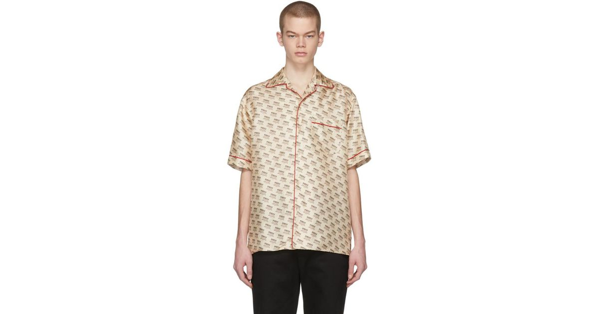 cdbc41947 Gucci Off-white All-over Logo Stamp Shirt in White for Men - Lyst
