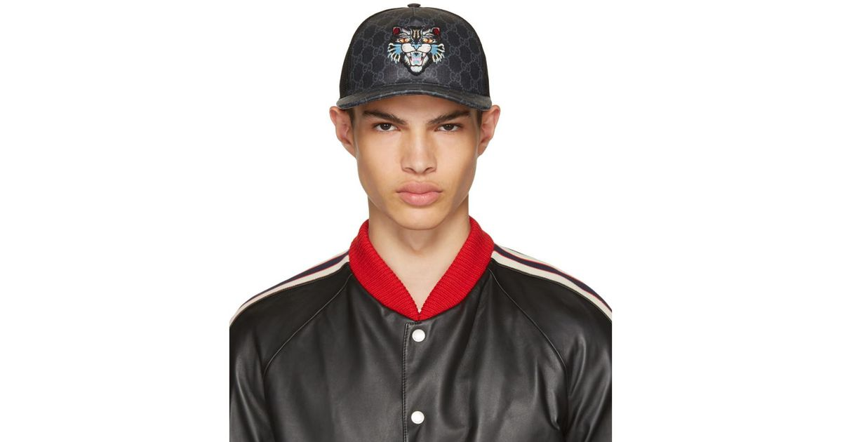 1d93973b108 Lyst - Gucci Black Angry Cat Gg Supreme Baseball Cap in Black for Men