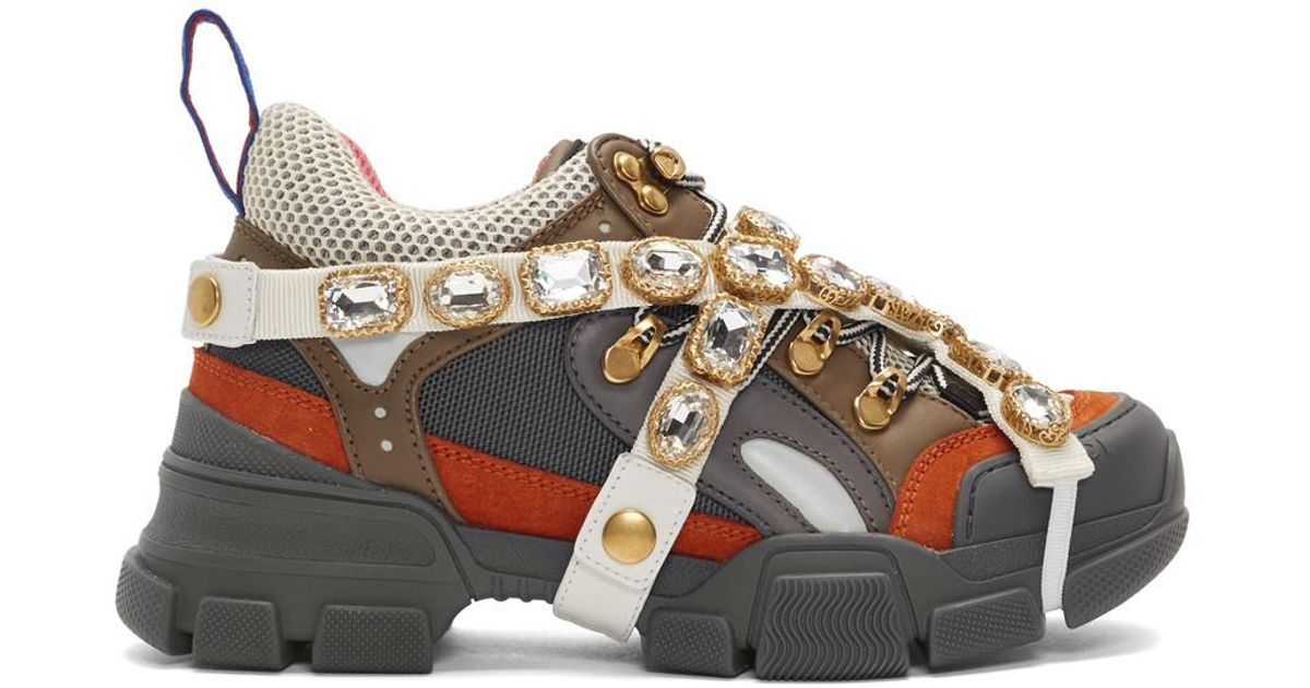 2985d75dbe17 Lyst - Gucci Grey And Orange Flashtrek Sneakers