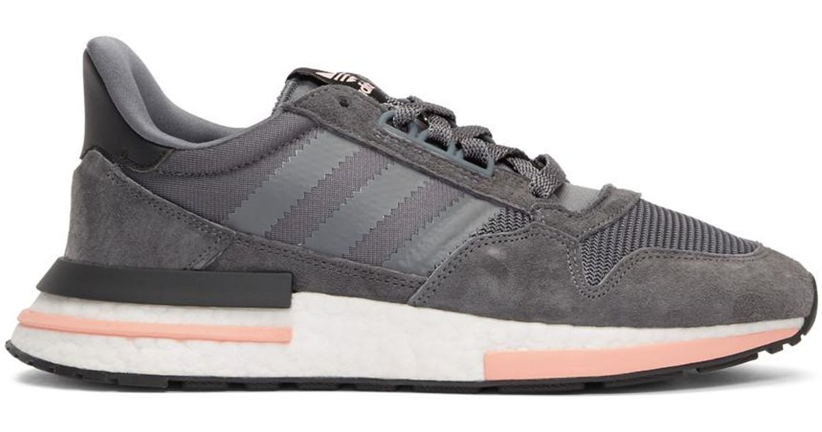 sports shoes 4c6ad f1257 adidas Originals Grey And Pink Zx 500 Rm Sneakers in Gray for Men - Lyst