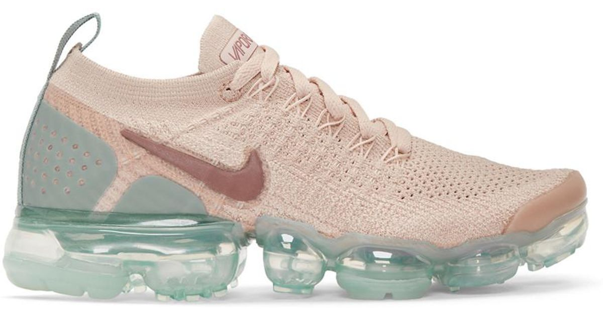 hot sale online 9ec23 ab041 Nike Natural Pink And Blue Air Vapormax Flyknit 2 Sneakers