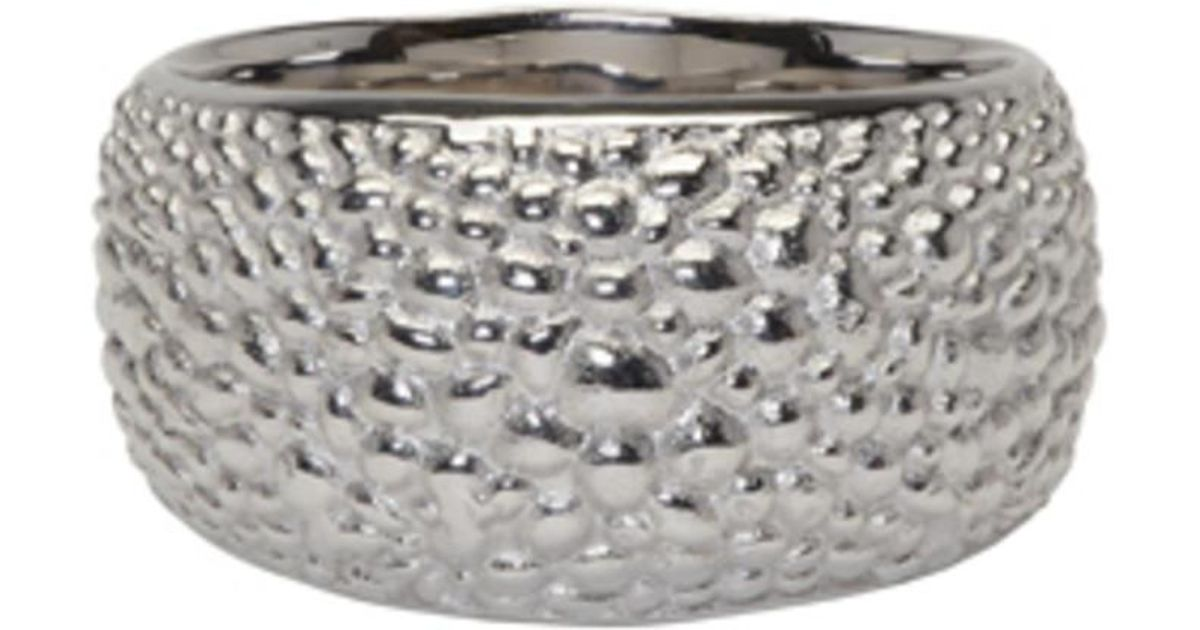 a6cacc94c32eb Tom Wood Metallic Silver Ice Structure Ring for men