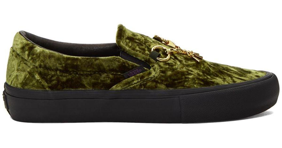2b829e890afb Lyst - Needles Green And Black Vans Edition Velvet Slip-on V Sneakers in  Green for Men