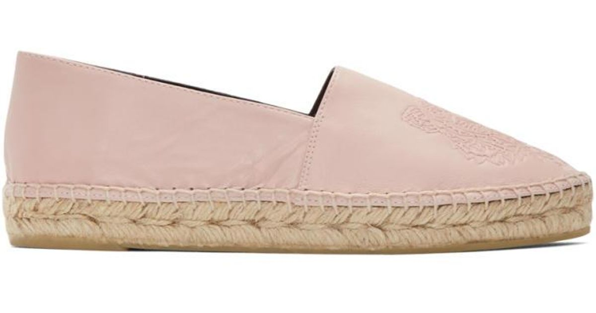 KENZO Pink Leather Tiger Espadrilles - Lyst