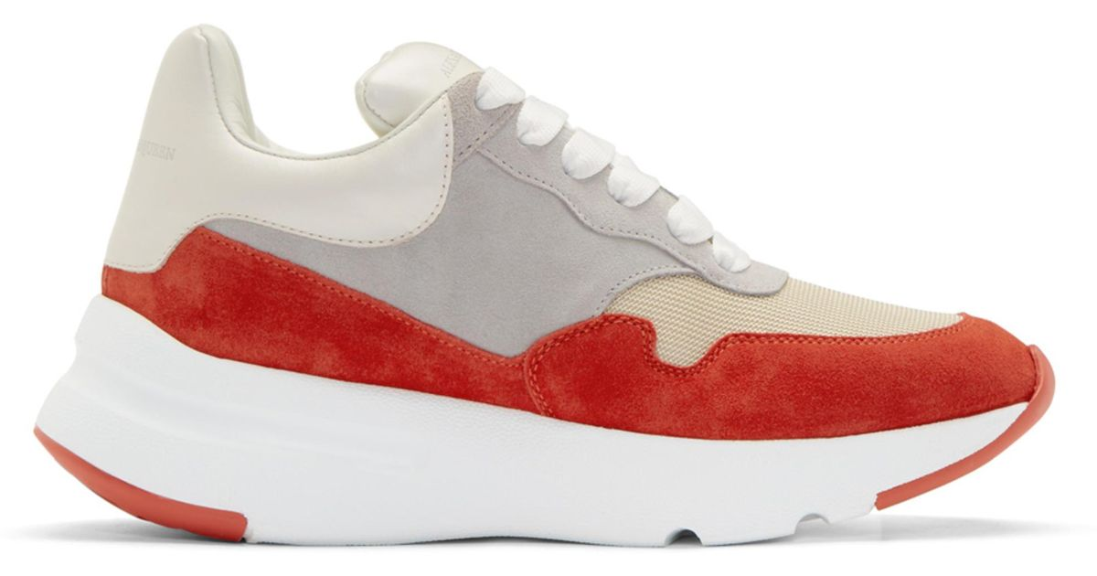 Red and White Colorblock Sneakers Alexander McQueen llUIVsS7