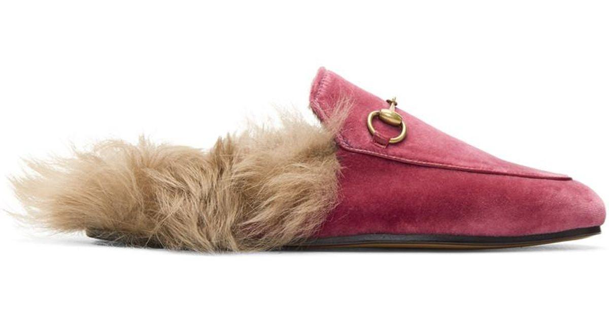 Gucci Pink Velvet \u0026 Fur Princetown