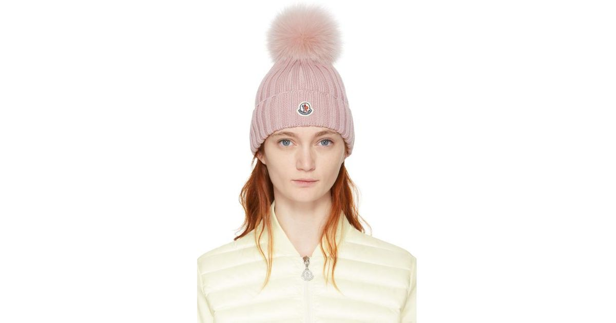 Lyst - Moncler Pink Ribbed Logo Pom Pom Beanie in Pink 81df4977418