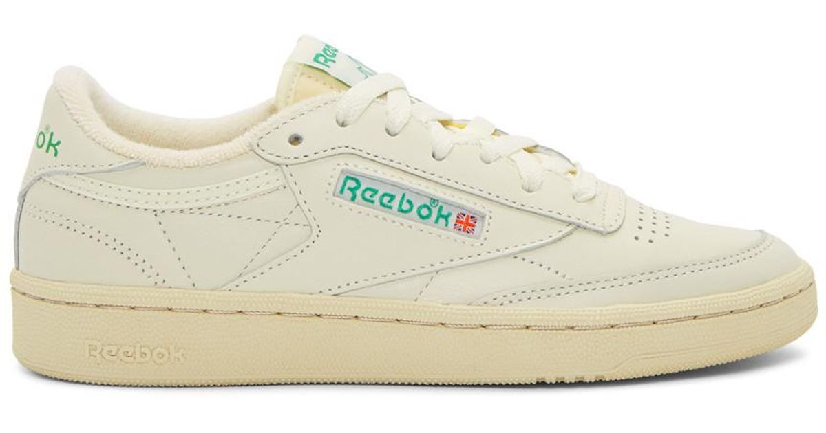 b0f77aa1a503f Reebok Off-white And Green Club C 85 Vintage Sneakers in White - Lyst