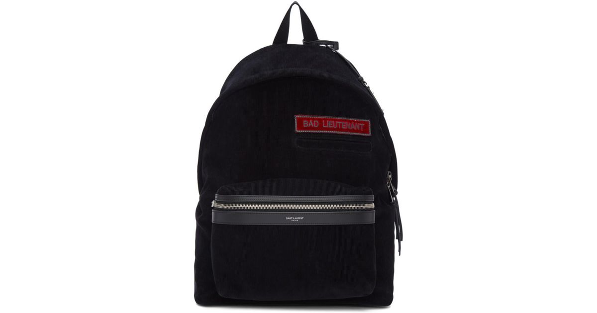 50beb7f4 Saint Laurent Black Corduroy 'bad Lieutenant' City Backpack in Black for  Men - Lyst