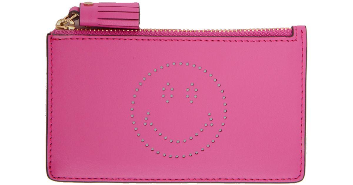 Pink Smiley Zipped Key Card Holder Anya Hindmarch yUFXx64mJ