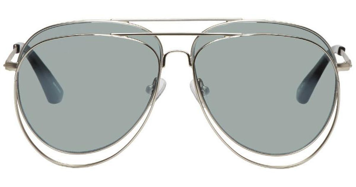 d1b95962e8 Lyst - Bless Silver Linda Farrow Edition Double Sunglasses in Metallic for  Men