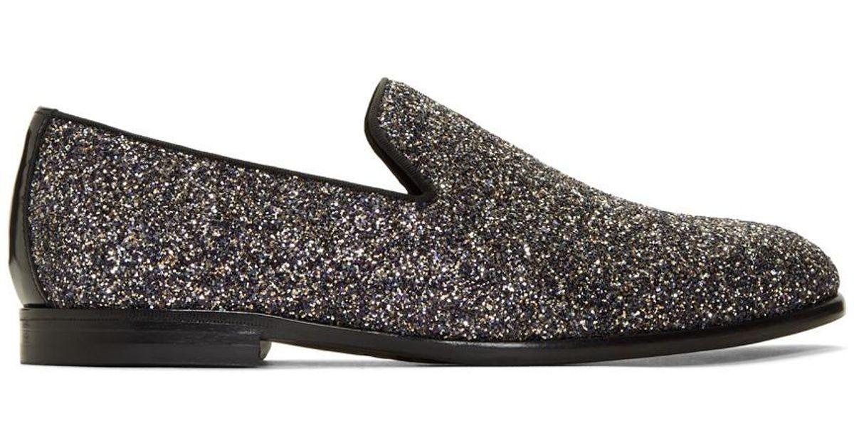 bc563fea47552 Jimmy Choo Glitter Loafers in Black for Men - Lyst