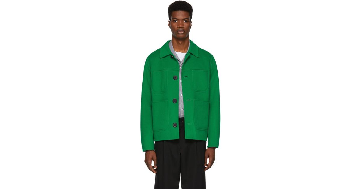 37c088650d0 Lyst - AMI Green Wool Jacket in Green for Men