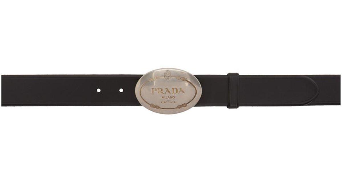 4b624bf54f56 Lyst - Ceinture a logo en cuir noire Prada pour homme en coloris Noir