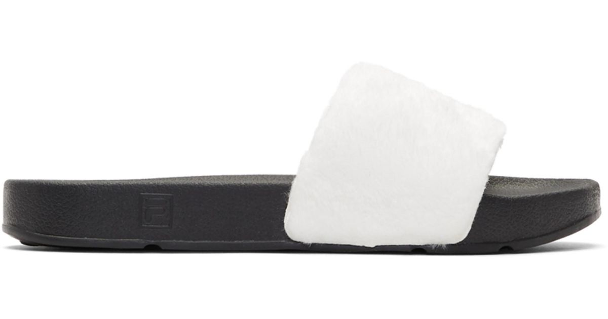 Baja East White & Black Fila Edition Shearling Drifter Slides tr63EygF