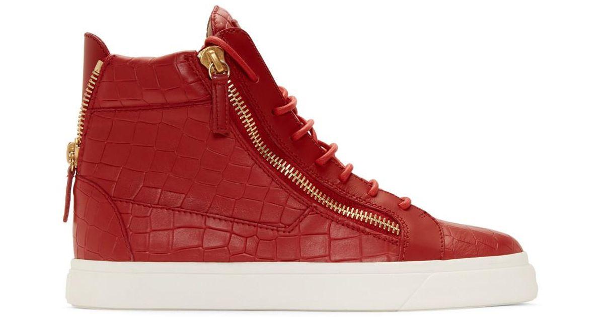 Lyst - Baskets montantes embossees facon croco rouges May London Giuseppe  Zanotti pour homme en coloris Rouge 2d222ed7fc2d