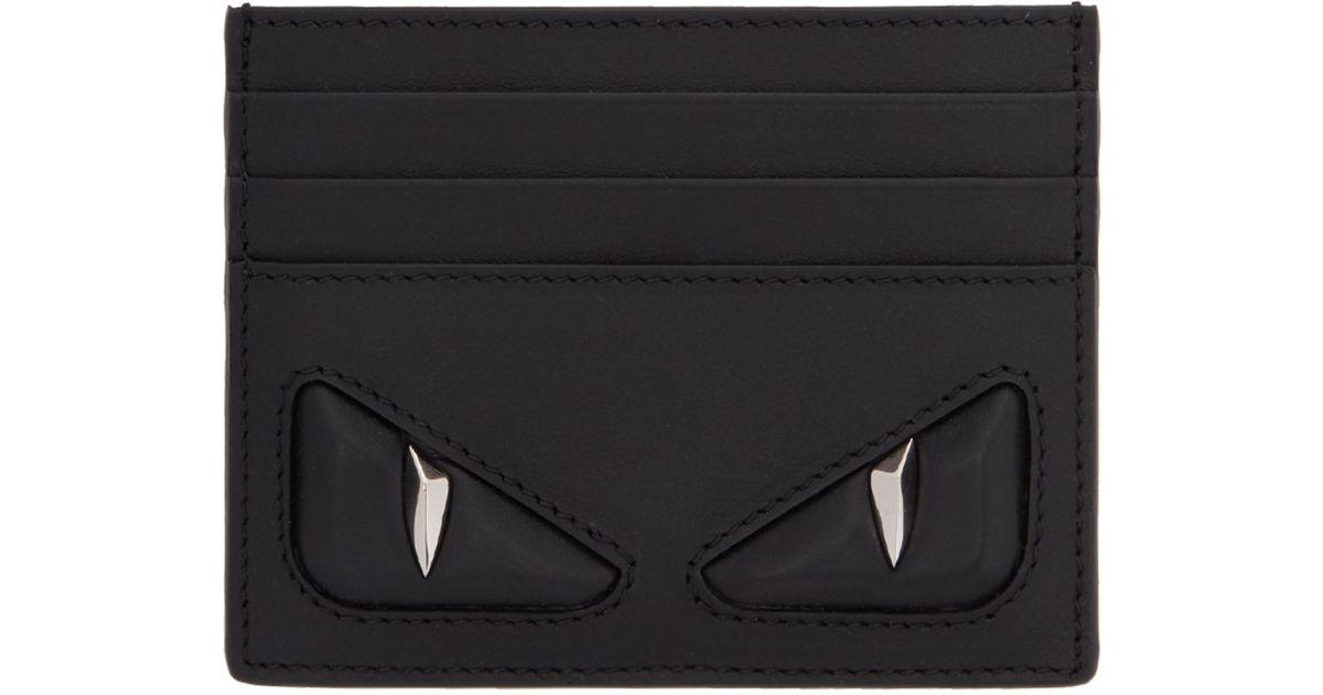18f67e64 Fendi Black Bag Bugs Card Holder