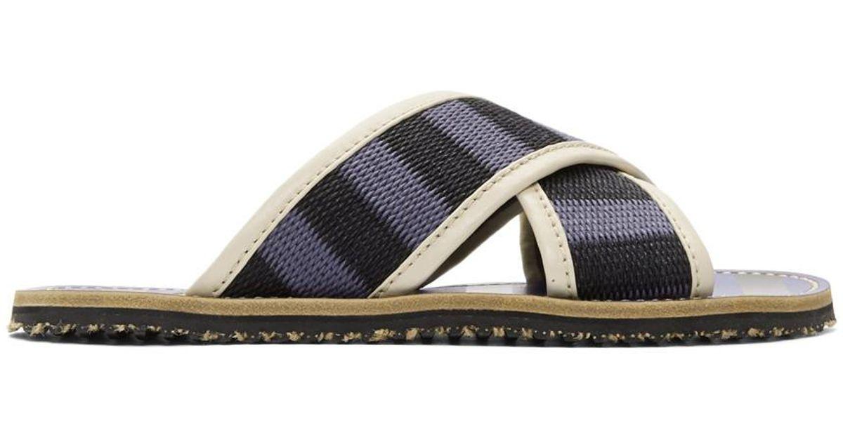 Marni Blue & Black Striped Nastro Sandals 61YaXFr