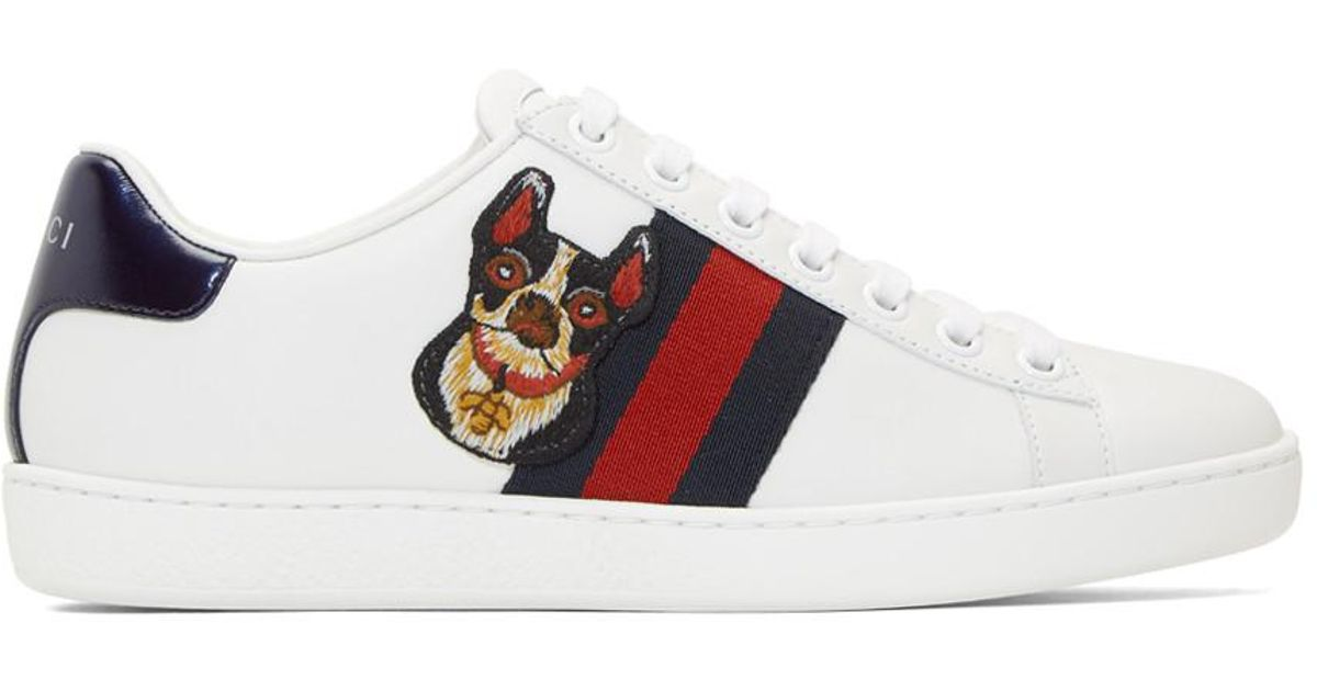 Gucci Leather White Dog New Ace