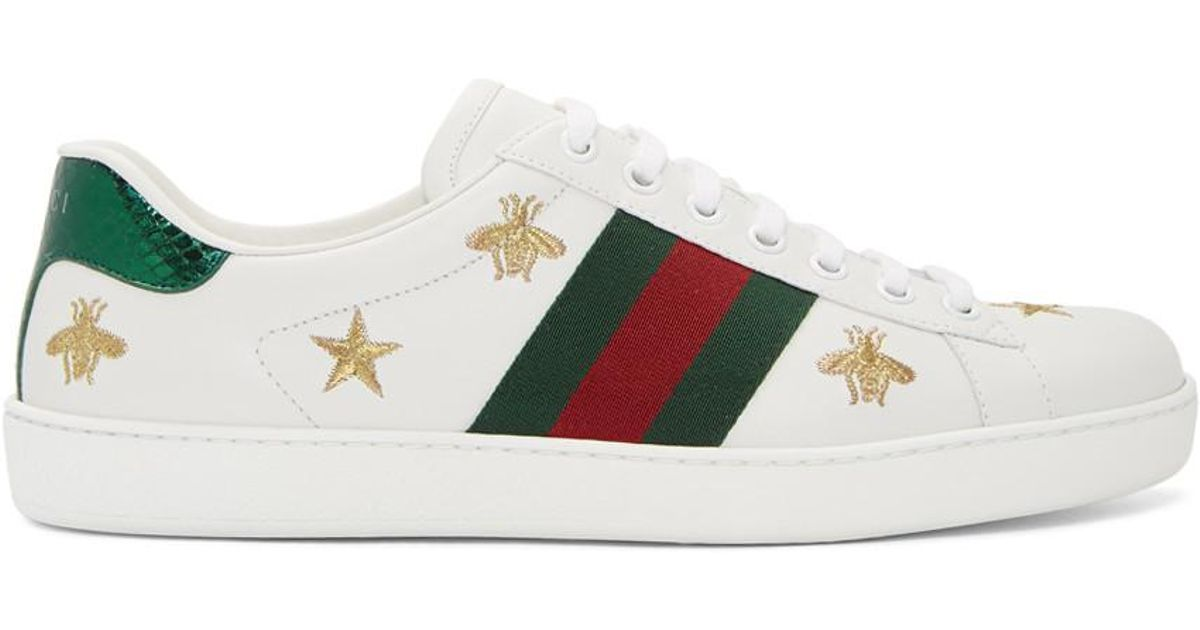 dc33cb5003e Lyst - Gucci White Bee And Star New Ace Sneakers in White for Men
