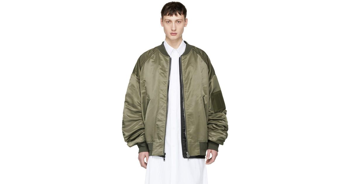 f4ff1a01e Juun.J Green Khaki Detached Bomber Jacket for men