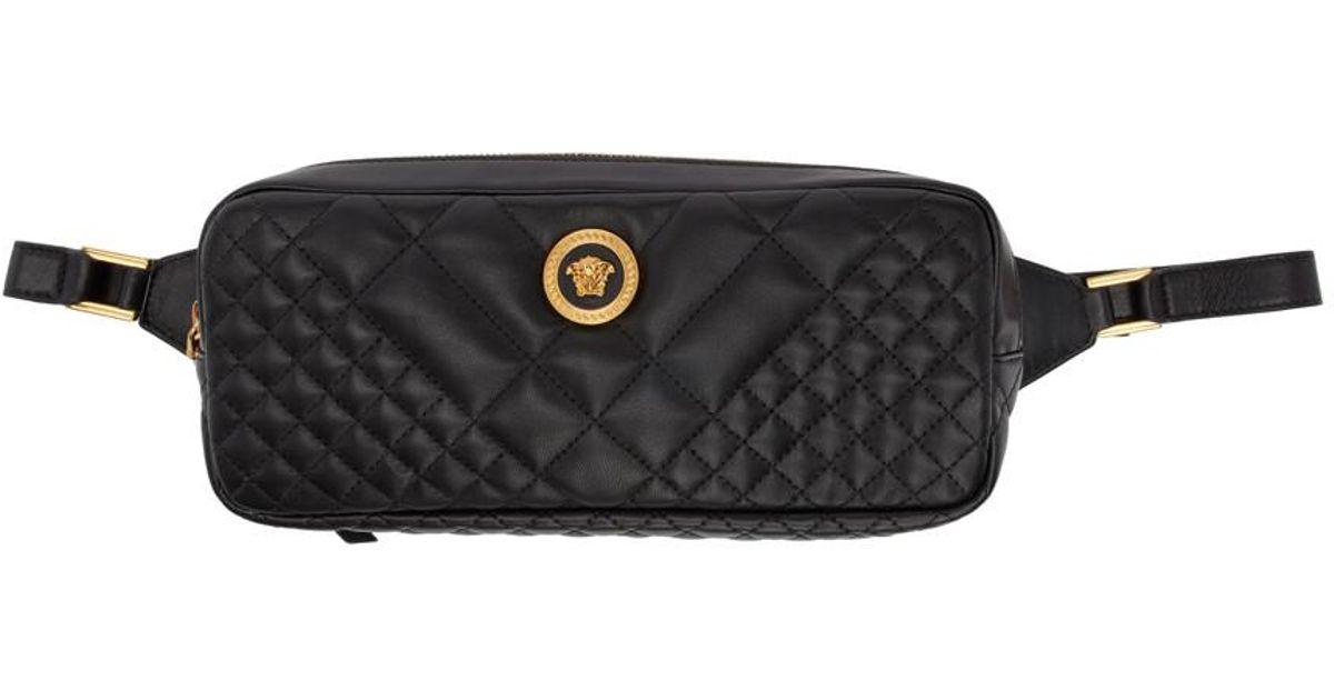180d6411a3 Versace - Black Quilted Medusa Tribute Belt Bag - Lyst