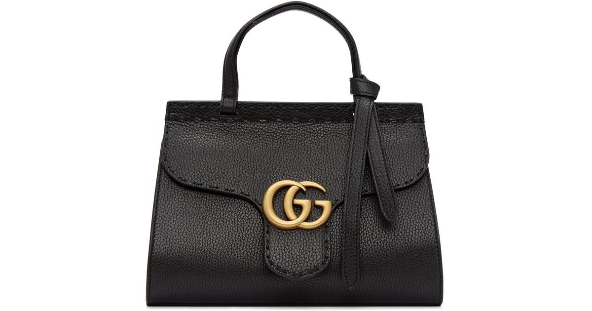 ef0ce3bea2b0 Gucci Black Mini Gg Marmont Top Handle Bag in Black - Lyst