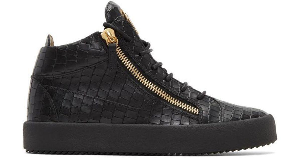Rag & Bone Black Croc-Embossed London High-Top Sneakers 253sPdQ