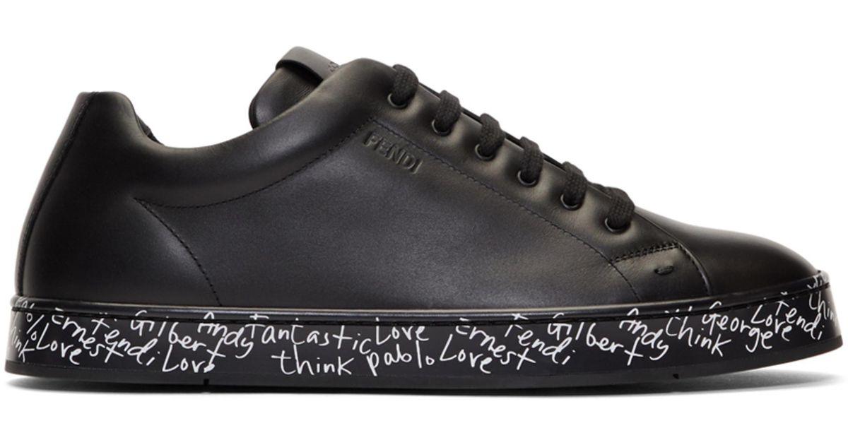 Fendi Leather Black Vocabulary Sneakers