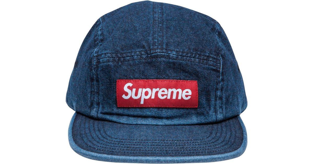 Supreme Denim Camp Cap in Blue for Men - Lyst 67a26022a27