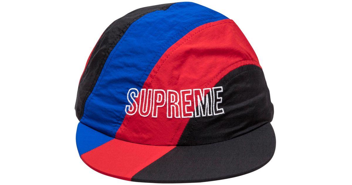 2a844ec4929 Lyst - Supreme Diagonal Stripe Nylon Hat in Red for Men