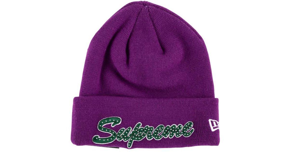 ac31a47cd2ef6 Supreme New Era Script Beanie Hat in Purple for Men - Lyst
