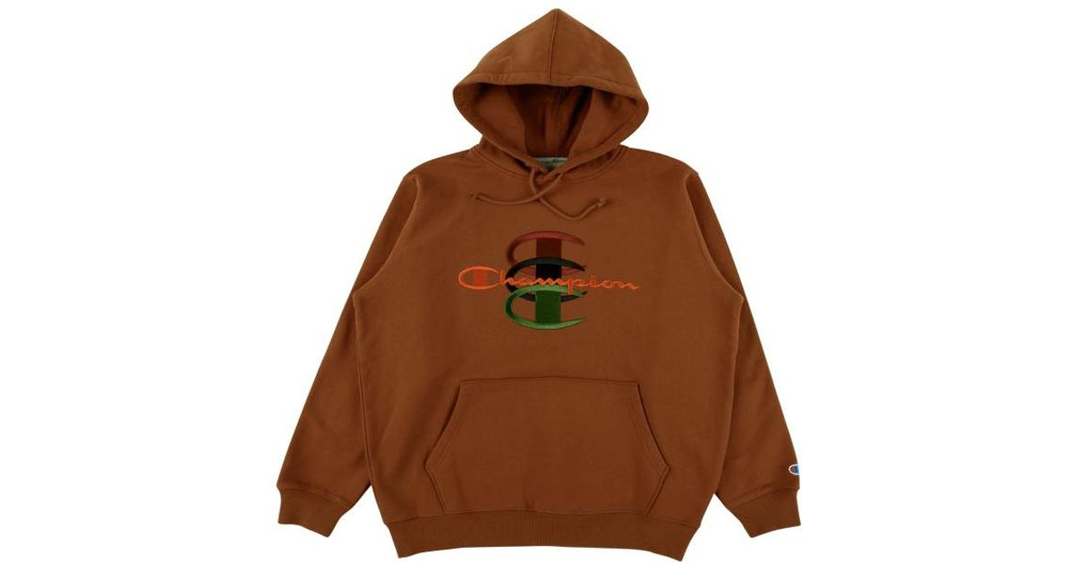 erkende merken winkel nieuwe hoge kwaliteit Supreme Brown Champion Stacked C Hooded Sweatshirt 'fw 17' for men